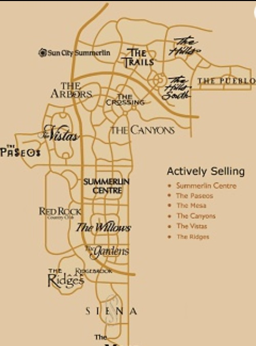 Summerlin Las Vegas, NV Map Summerlin Centre, Paseos, Mesa, Canyons ...
